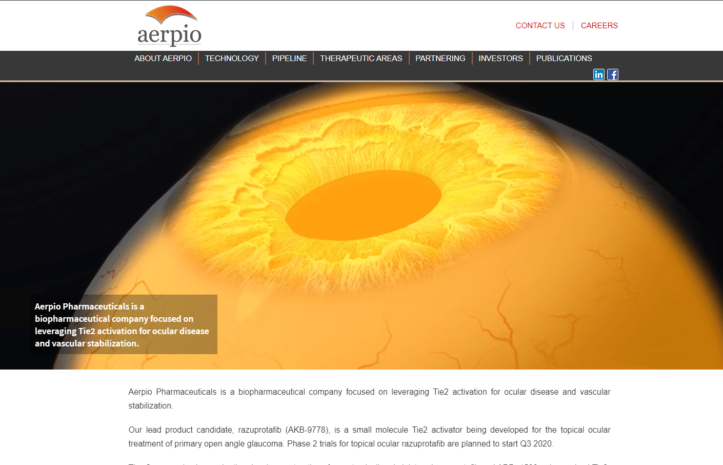 Aerpio Pharmaceuiticals biotech website