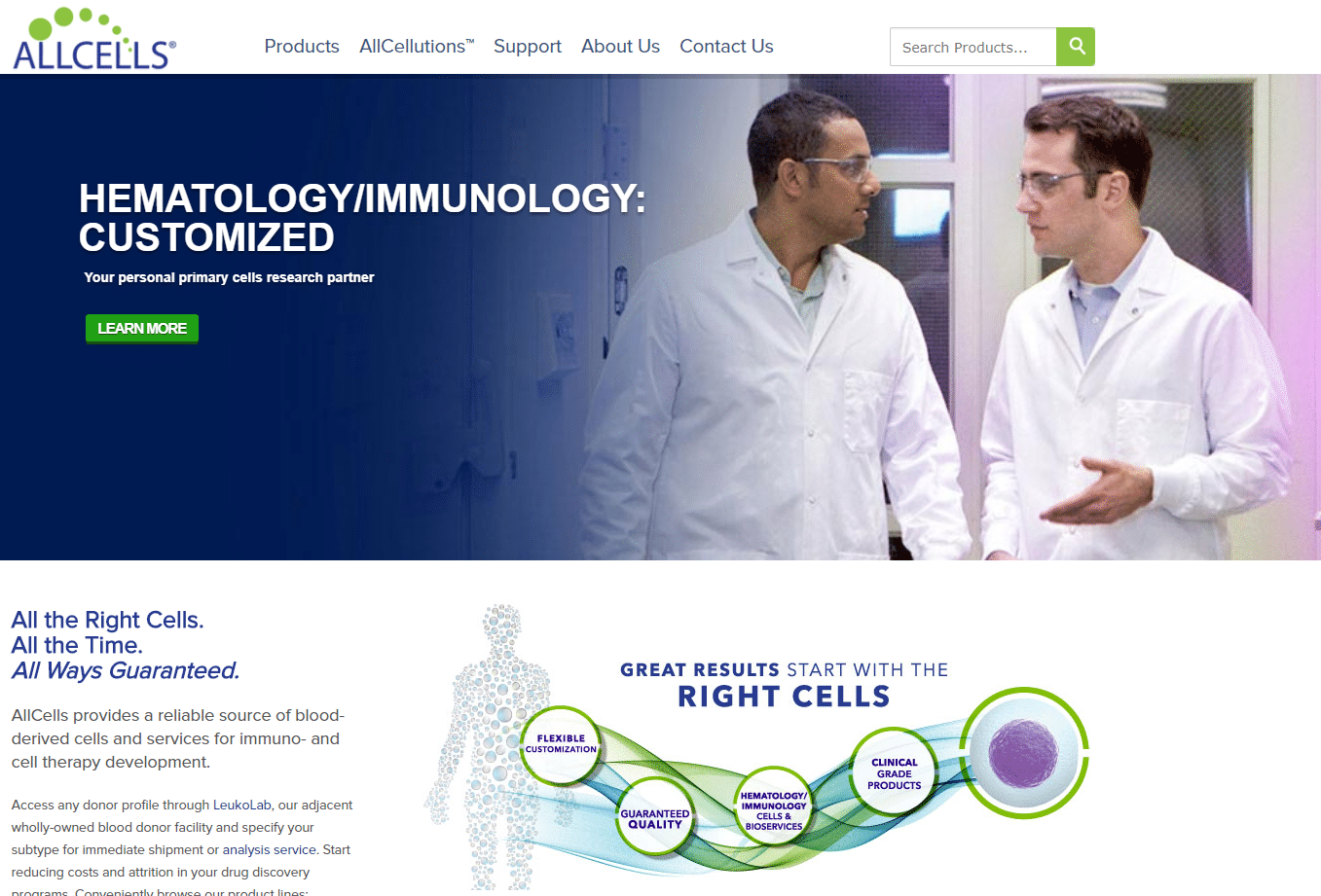 Allcells biotech ecommerce site