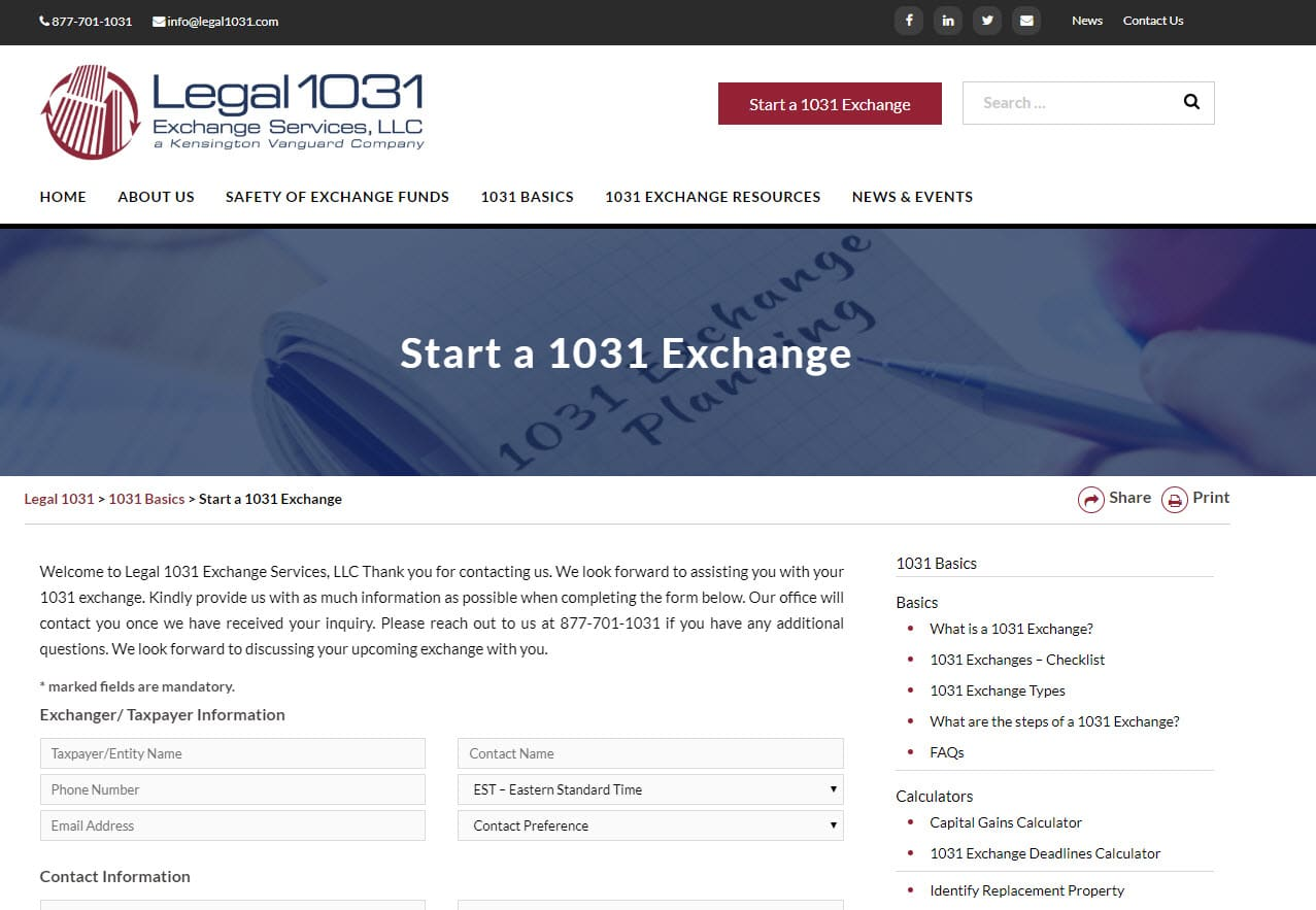legal1031 start an exchange