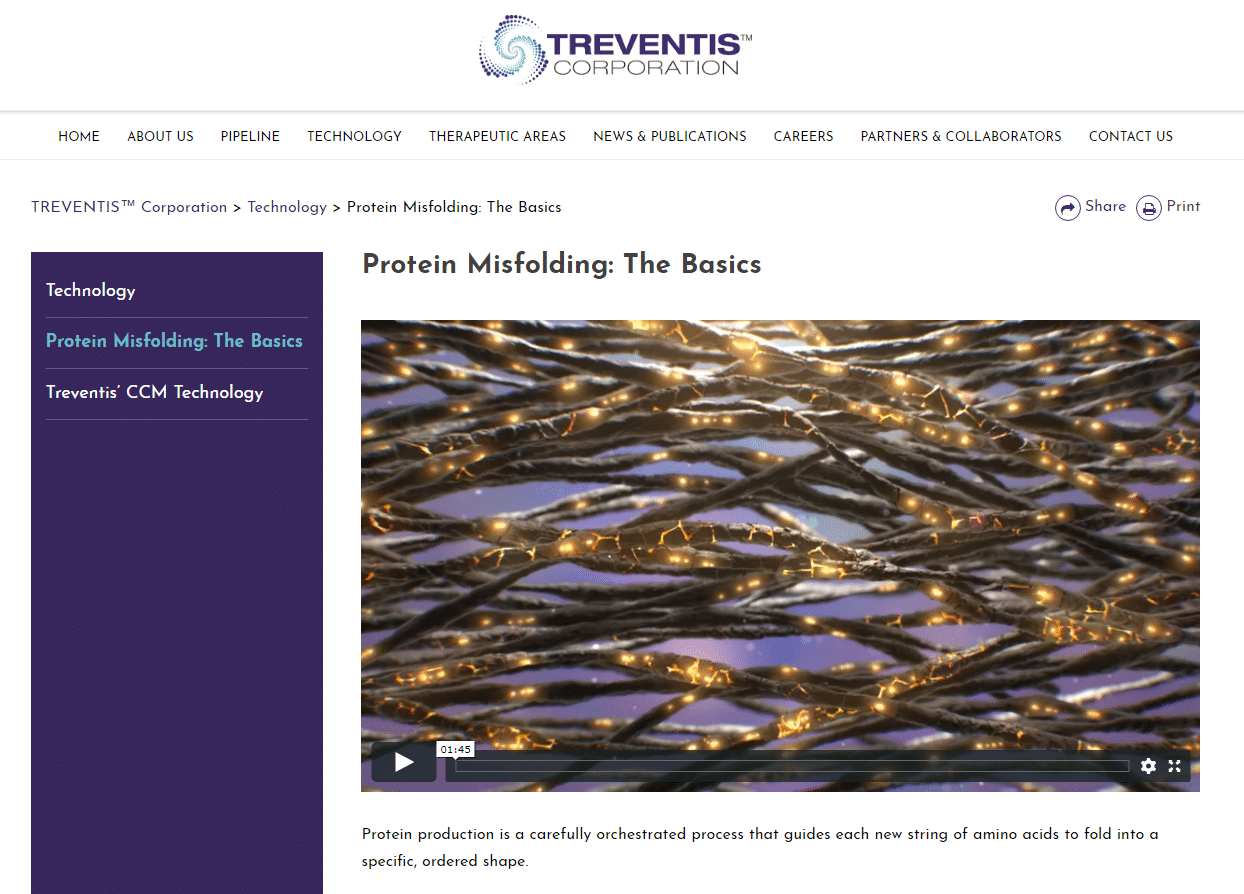 Treventis Corporation Biotech website About Protein Misfolding