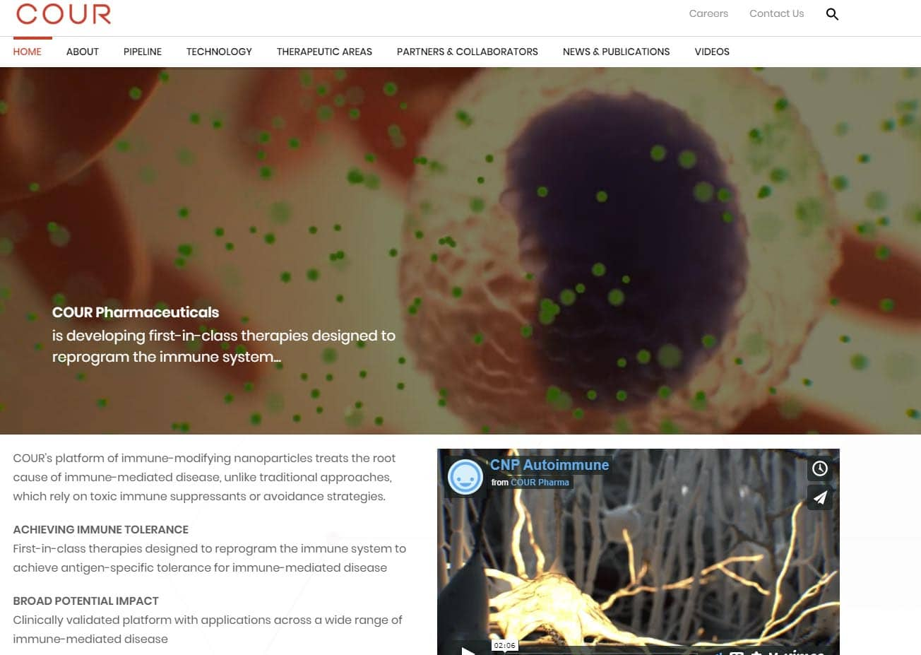 Cour Pharma biotech website